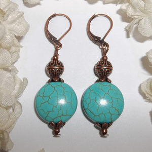 Turquoise Blue & Copper Earring Handmade NWT 4729